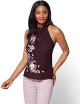 New York & Co. 7th Avenue - Embroidered Halter Blouse - Burgundy