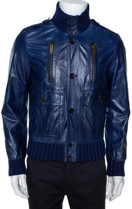 Gucci Midnight Blue Leather Rib Knit Trim Madonna Bomber Jacket S