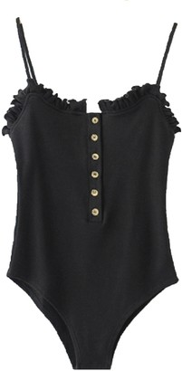 Goodnight Macaroon 'Kacie' Ruffled Button Front Bodysuit (4 Colors)