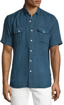 Neiman Marcus Linen Short-Sleeve Shirt, Navy