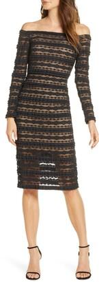 SHO Crinklela Off the Shoulder Long Sleeve Lace Dress