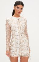 PrettyLittleThing Rose Gold Sequin Detail Long Sleeve Bodycon Dress