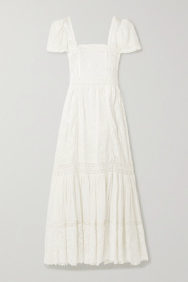 LoveShackFancy Norma Crochet-trimmed Embroidered Cotton-voile Maxi Dress - White