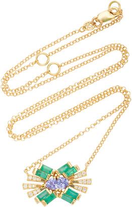 Carol Kauffmann Tanzanite, Emerald and Diamond Necklace