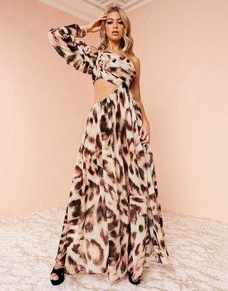 Asos DESIGN Luxe drape sleeve super split maxi dress in leopard print