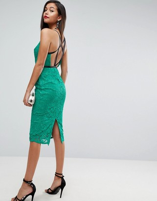 Asos Design Geo Lace Sexy Pencil Midi Dress-Green