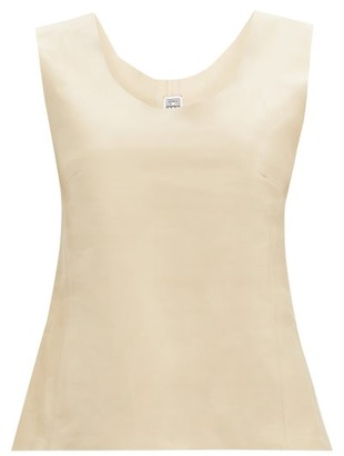 Totême Bergara Scoop-neck Leather Top - Ivory