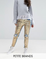 Kubban Petite Distressed Sequin Front Skinny Jeans