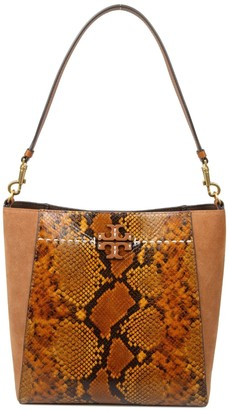 Tory Burch Mcgraw Exotic Hobo Bag In Caramel Color Suede
