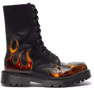 Vetements Flame Applique Leather Boots - Womens - Black Multi