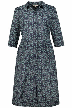 Ulla Popken Women's Plus Size Eco Cotton Vine Print Shirt Dress Dark Blue Multi 20/22 724344 75-46+
