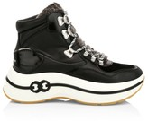 Tory Burch Gemini Link Shearling-Lined Leather Platform Hiking Boots