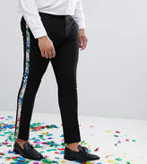 Asos Plus Super Skinny Suit Trousers With Teal Floral Print Velvet Side Stripe