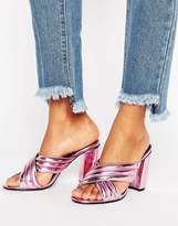 Daisy Street Pink Metallic Mule Heeled Sandals