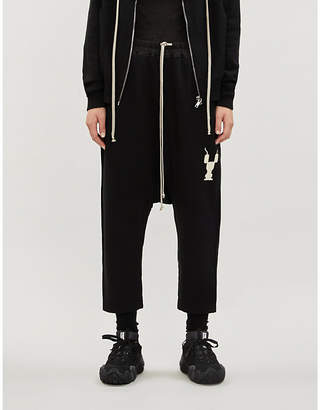 Rick Owens Dropped-crotch cropped cotton-jersey jogging bottoms