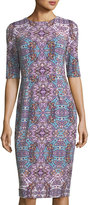 Maggy London Byzantine Short-Sleeve Jersey Sheath Midi Dress