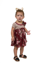 Bonnie Jean Burgundy Floral Dress