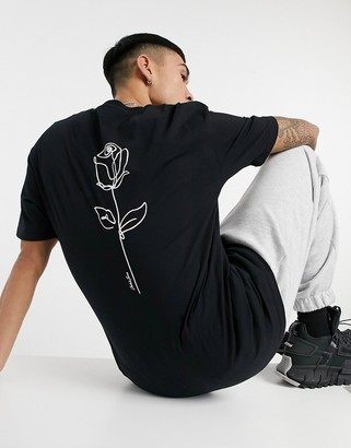 Jack and Jones Originals oversized T-shirt with rose back print in black