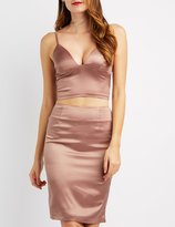 Charlotte Russe Satin Triangle Crop Top