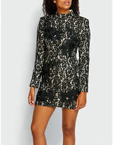 Missguided High-neck lace mini dress