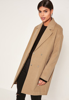 Missguided Camel Drop Shoulder Double Breasted Faux Wool Coat