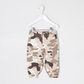 River Island Mini girls Khaki camo utility trousers