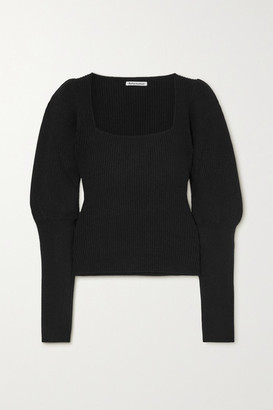 Reformation Piazza Ribbed Cashmere Sweater - Black