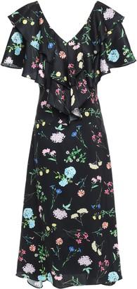 Paper London Maeva Ruffle-trimmed Floral-print Twill Midi Dress
