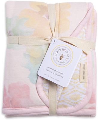 Burt's Bees Morning Glory Watercolor Reversible Soft Baby Blanket Made With Organic Cotton