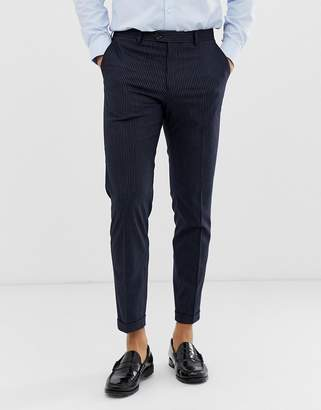 Jack and Jones smart pinstripe trouser cropped fit-Navy