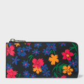 Paul Smith Women's Black Leather 'Wild Floral' Print Large Corner Zip Wallet