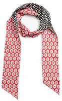 Tory Burch Women's Flower Print Skinny Silk Twill Scarf