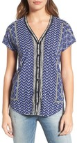 Lucky Brand Women's Button Front Ikat Print Top