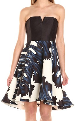 Halston Women's Strapless Notch Neck Printed Dress