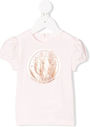 Roberto Cavalli Junior crest logo ruffle sleeve T-shirt