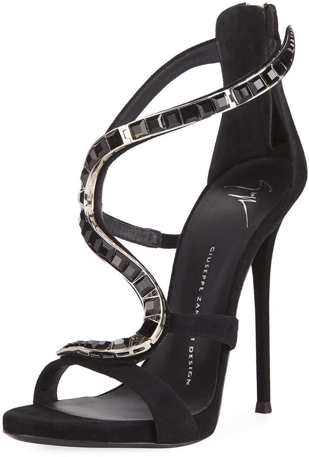 Giuseppe Zanotti Wavy Crystal Suede 115mm Sandal