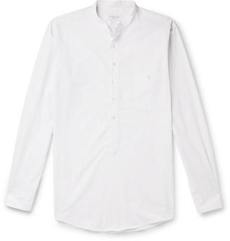 Richard James Grandad-Collar Striped Slub Cotton Half-Placket Shirt