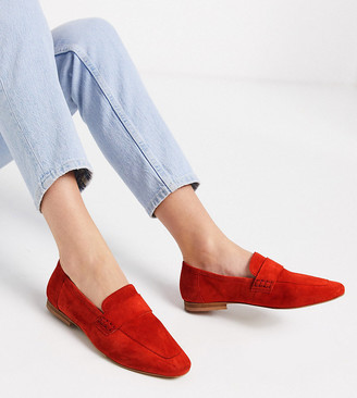 ASOS DESIGN Wide Fit Motion suede loafers in hot tomato