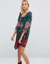 Lavand Floral and Paisley Print Dress