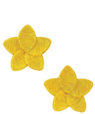 Rebecca De Ravenel Frangipani Floral Clip-On Earrings