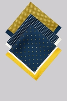 Moss Bros Yellow & Navy 3 Pack Pocket Square Gift Set