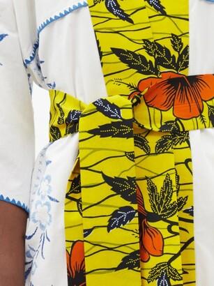 RIANNA + NINA Kendima Embroidered Cotton-poplin Robe Coat - Multi