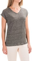 Antibes Blanc Heathered V-Neck Knit Shirt - Linen, Short Sleeve (For Women)