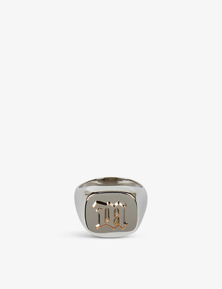 Misbhv Embossed sterling silver-plated signet ring