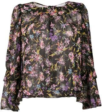 Patrizia Pepe Sheer Floral Print Blouse