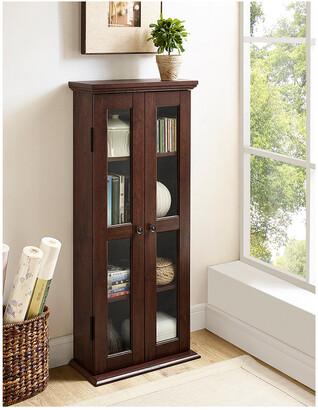 Hewson 41In Wood Media Storage Tower Cabinet