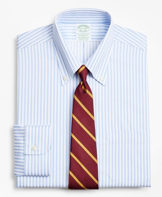 Brooks Brothers Stretch Milano Slim-Fit Dress Shirt, Non-Iron Twill Button-Down Collar Bold Stripe