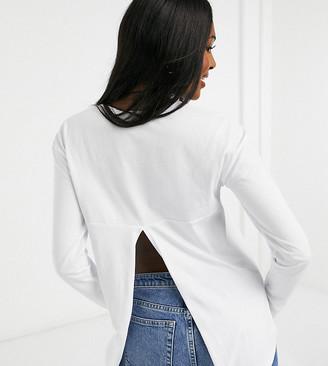 ASOS DESIGN Maternity long sleeve T-shirt with back slit in white