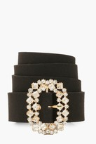 Thumbnail for your product : boohoo Oval Diamante Buckle Belt