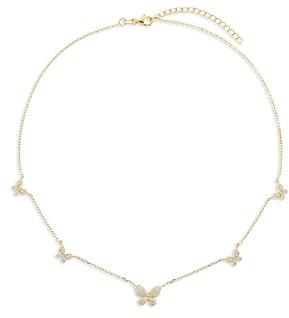 Adina's Jewels Pave Butterfly Choker Necklace, 15-17